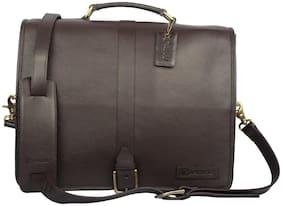 ARCADIO Brown Leather Laptop messenger bag