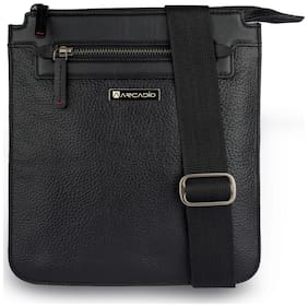 ARCADIO Women Solid Canvas & Leather - Sling bag Black
