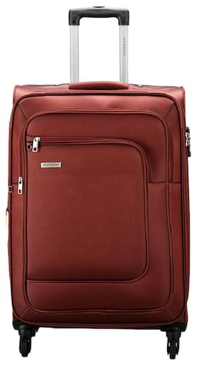 Aristocrat Medium Size Soft Luggage Bag - Red , 4 Wheels