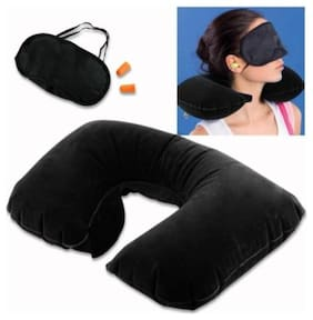 Aryshaa 3 in 1 Travel Selection Comfort Neck Pillow,Travel Kit with Eye Mask and 2 Ear Plugs Assorted Colours (Pack of 1)