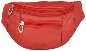 AspenLeather  Pure Leather Red Waist Bag