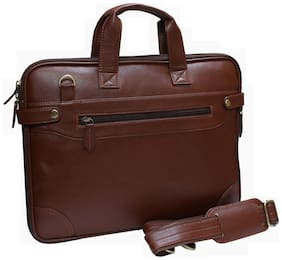 Attache Brown Faux leather Laptop backpack