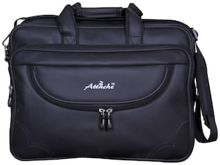 Attache Synthetic Leather 15.6-Inch Laptop Black Executive Office Bag (Black)