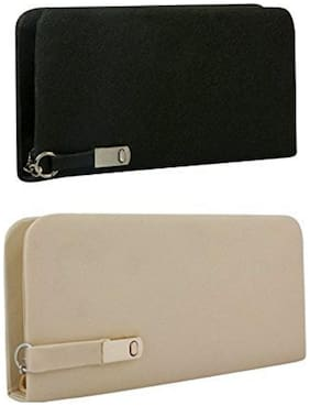 Awesome fashions WOMEN WALLET COMBO PACK OF 2 , BLACK AND IVORY