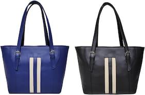 AZED Collections Blue & Black PU Shoulder Bag