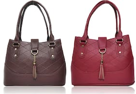 AZED Collections Brown & Maroon PU Shoulder Bag