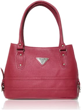 AZED Collections Maroon Faux Leather Handheld Bag
