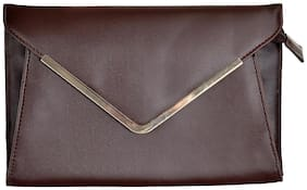 Azzra Brown Elegant Envelope Clutch