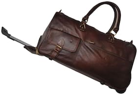 """Bag Jack  - The ultimate in travelling finesse""""Canum - Ettiinger"""" handcrafted brown color leather trolly travel bag"""
