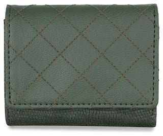 Baggit Women Solid Synthetic - Clutch Green