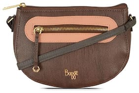 Baggit Brown Nylon Solid Sling Bag