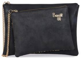 Baggit Women Solid Synthetic - Clutch Black