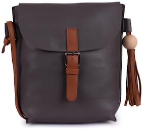 Bagkok Grey PU Solid Crossbody Bag