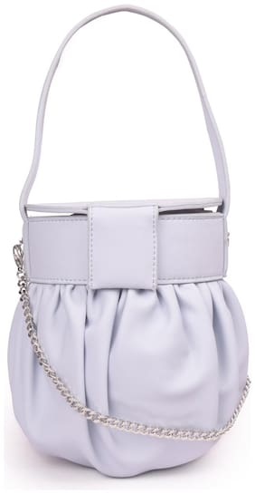 Bagkok Grey PU Solid Crossbody Bag
