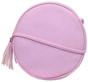 Bagkok Pink PU Solid Crossbody Bag
