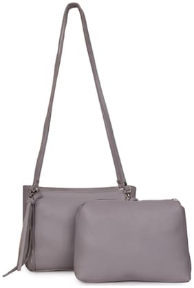 Bagkok Grey PU Solid Sling Bag