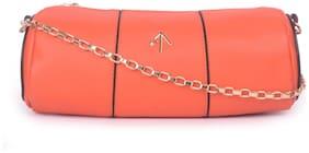 Bagkok Orange PU Solid Sling Bag