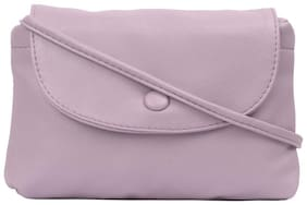 Bagkok Pink PU Solid Crossbody Bag