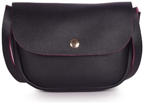 Bagkok Black PU Solid Crossbody Bag