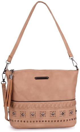 Bagkok Women Solid PU - Crossbody Bag Beige