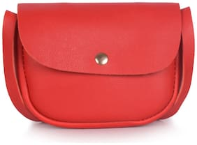 Bagkok Red PU Solid Crossbody Bag