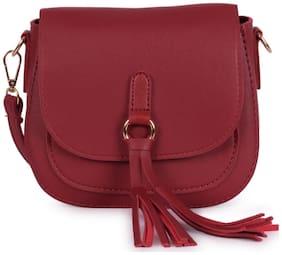 Bagkok Red PU Solid Crossbody Bag