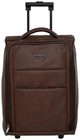 BagsRUs Brown Faux Leather 36L Cabin Luggage Overnight Travel Trolley Bag