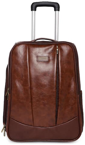 BagsRus Faux Leather 52 cms Chocalate Brown Softsided Carry-On Laptop Cabin Trolley Cabin Size Soft Luggage Bag ( Brown , 2 Wheels )