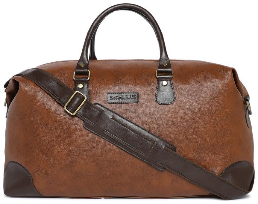 BagsRUs Faux Leather 34 cms Tan Duffel Travel Bag