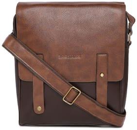BagsRUs Faux Leather 31 cms Tan Tablet Messenger Sling Bag