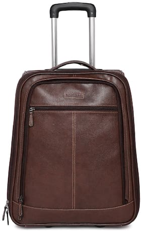 BagsRus Faux Leather 51 cms Brown Softsided Carry-On Laptop Cabin Trolley Cabin Size Soft Luggage Bag ( Brown , 2 Wheels )