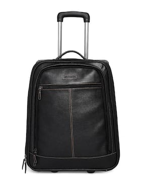 BagsRus Faux Leather 51 cms Black Softsided Carry-On Laptop Cabin Trolley Cabin Size Soft Luggage Bag ( Black , 2 Wheels )