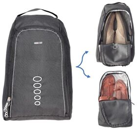 BagsRUs Grey Polyester Dual Compartments for Shoes and Bed Slippers Protective Shoe Travel Bag (SH109FGR)