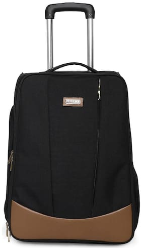 BagsRus Polyester 52 cms Black Softsided Carry-On Laptop Cabin Trolley Cabin Size Soft Luggage Bag ( Black , 2 Wheels )