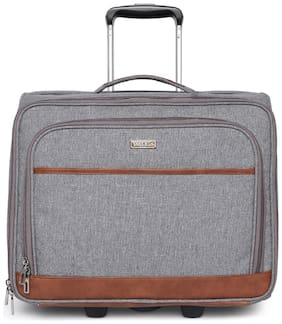 BagsRus Polyester 42 cms Grey Softsided Overnighter Laptop Carry-On Cabin Trolley Cabin Size Soft Luggage Bag ( Grey , 2 Wheels )