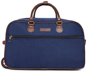 BagsRus Polyester 52 cms Navy Blue Softsided Carry-On Duffel Cabin Trolley Cabin Size Soft Luggage Bag ( Blue , 2 Wheels )