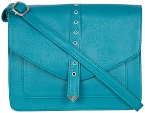 Bagsy Malone Women Solid PU - Sling Bag Blue