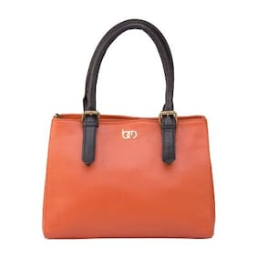 Bagsy Malone Faux Leather Women Handheld Bag - Orange