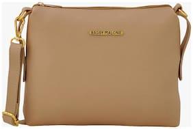 Bagsy Malone Women Solid PU - Sling Bag Beige