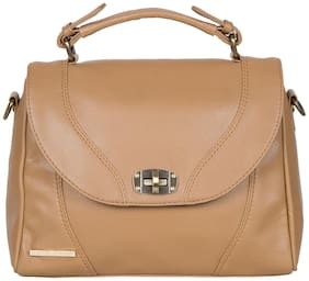 Bagsy Malone Faux Leather Women Handheld Bag - Beige