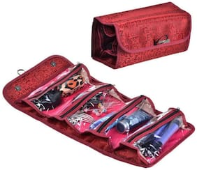 Bagzar Roll N Go 4 in 1 Travel Buddy Toiletry and Cosmetic Bag Organizer for Girls Ladies Women Red