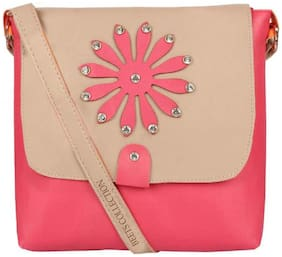 BEETS COLLECTION Pink PU Solid Sling Bag
