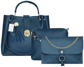 BEETS COLLECTION Blue PU Handheld Bag