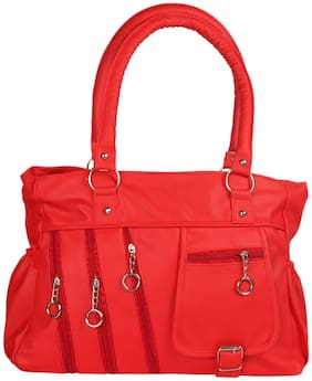 Bellina Red Faux Leather Handheld Bag