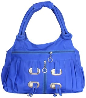 Bellina Blue Synthetic Handheld Bag