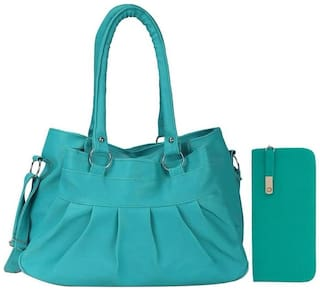 Bellina Green Faux Leather Handheld Bag