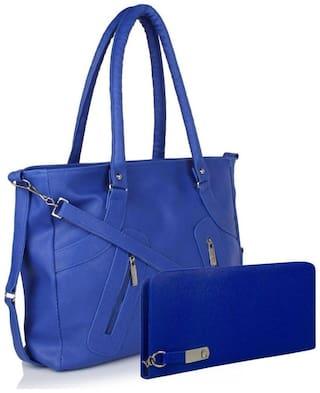 Bellina Blue Faux Leather Handheld Bag