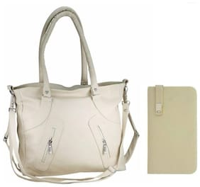 Bellina Beige Faux Leather Handheld Bag