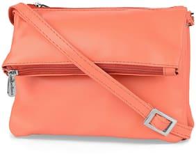 Bellissa Orange Faux Leather Solid Sling Bag