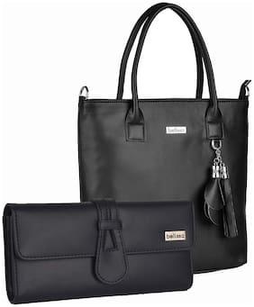 Bellissa Black Faux Leather Handheld Bag